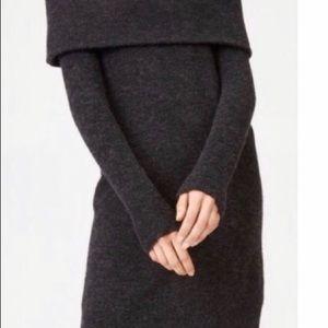 Club Monaco Off Shoulder Wool Dress Dark Grey XS